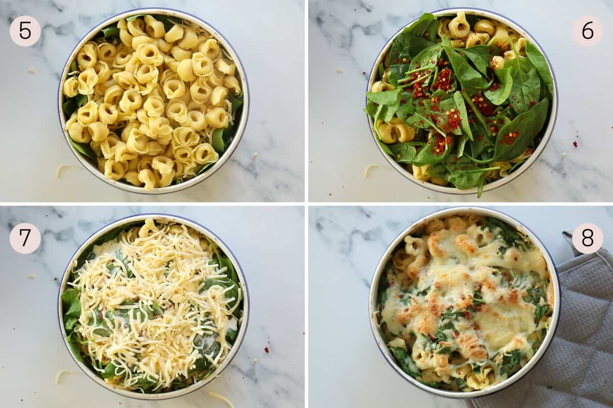 collage showing how to make tortellini al forno and what it looks like before and after cooking