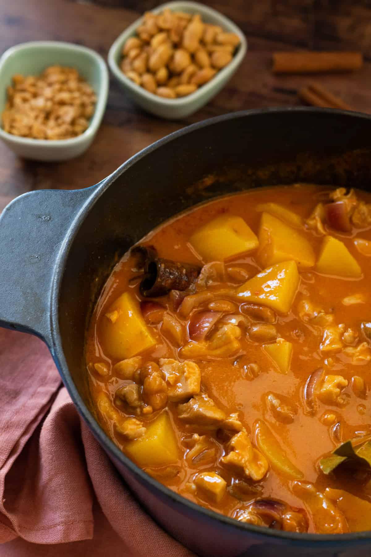 a full pot of massaman chicken curry