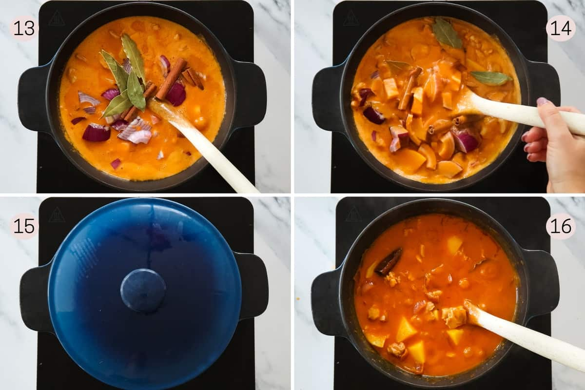 collage showing the final steps to making massaman chicken curry