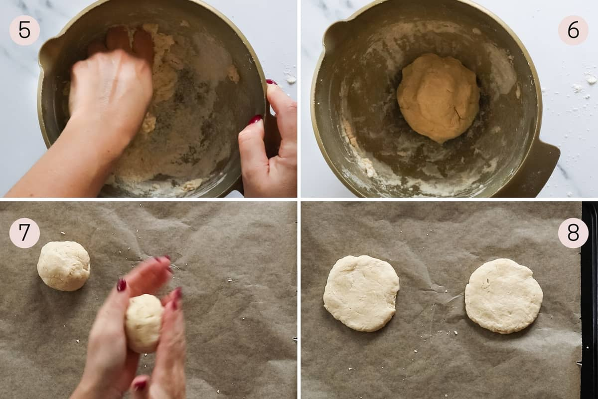 collage showing how to mix together the dough and make scones