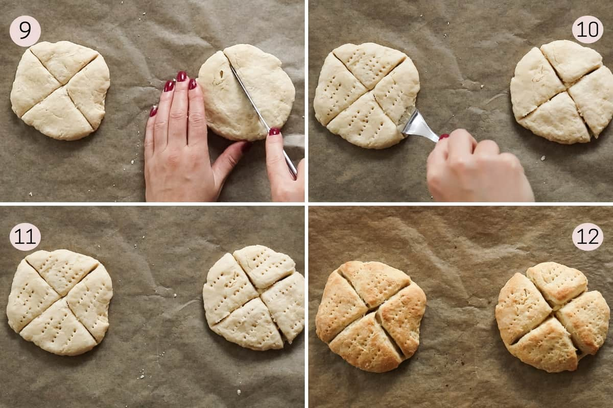 collage showing how to cut and prick scones with a fork