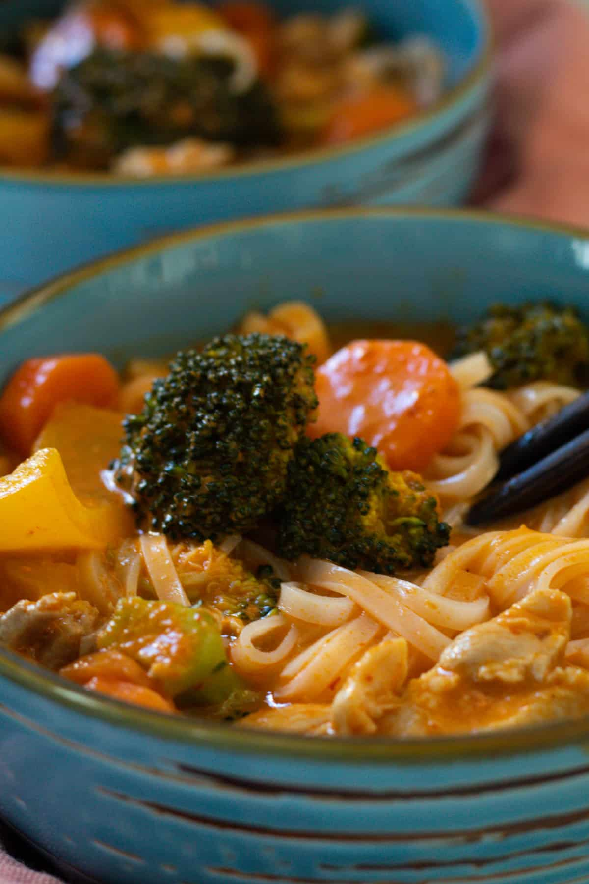 close up of a spicy chicken noodle soup