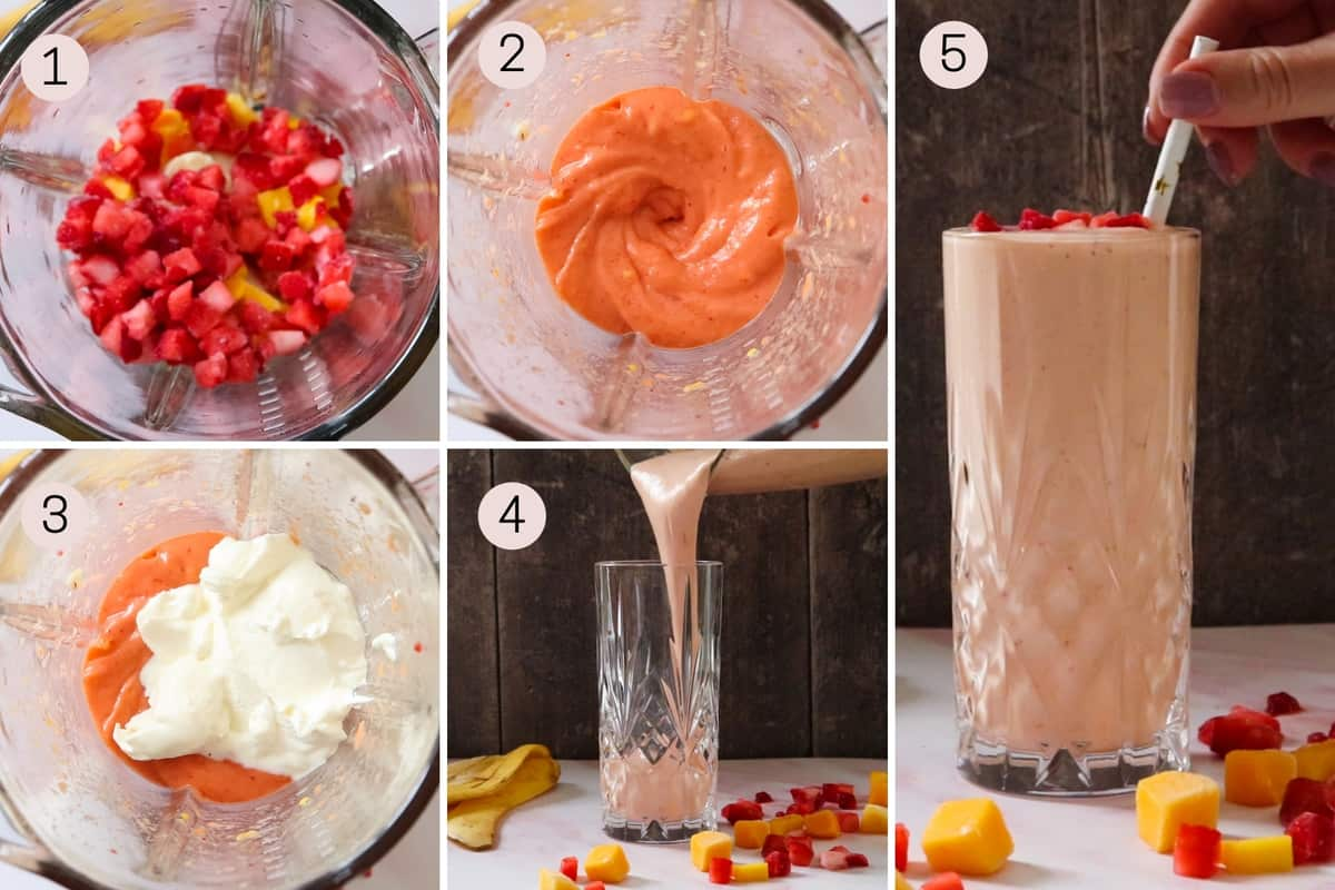 collage showing how to make a strawberry mango smoothie