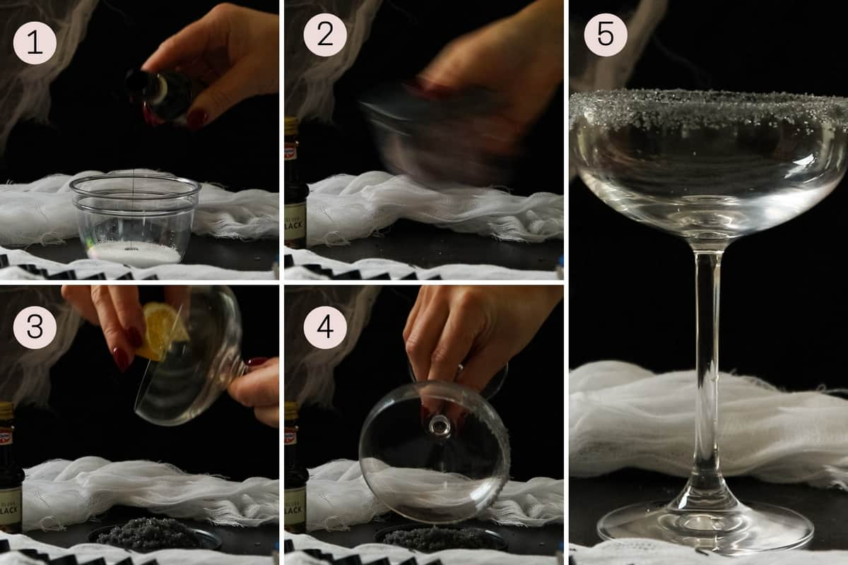 collage showing how to color salt and salt the rim of a margarita glass