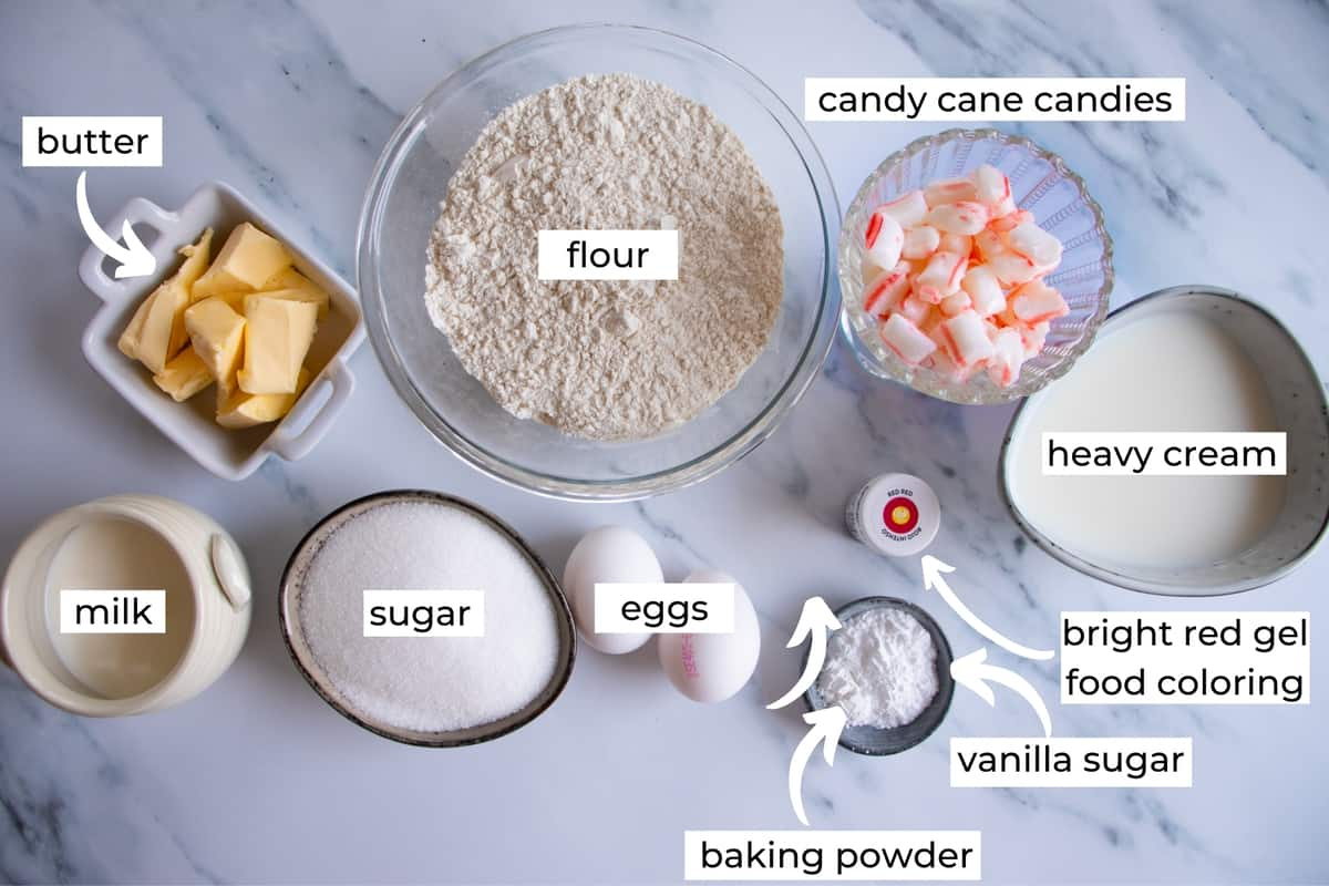 ingredients needed to make candy cane cupcakes