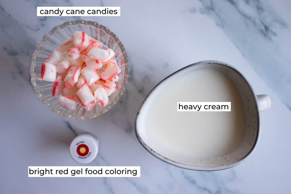 ingredients needed to make peppermint whipped cream with real candy canes