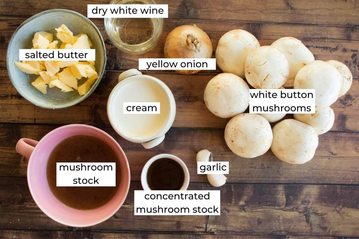 ingredients needed to make cream of mushroom soup