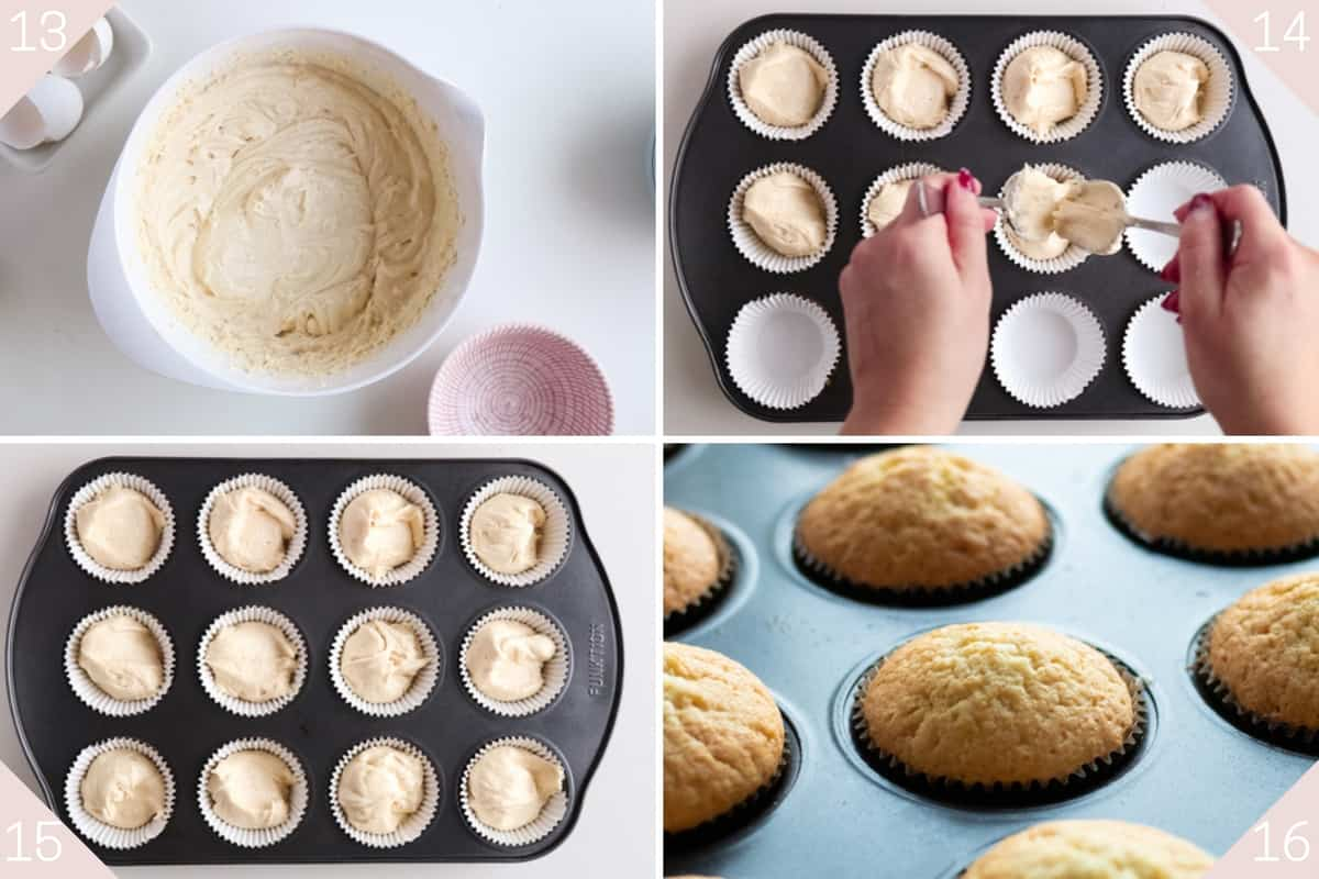 collage showing how to make vanilla muffins
