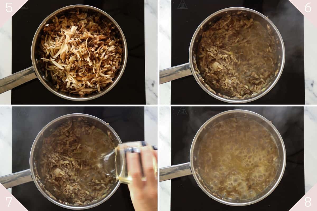 collage showing how to add mushrooms and wine to soup