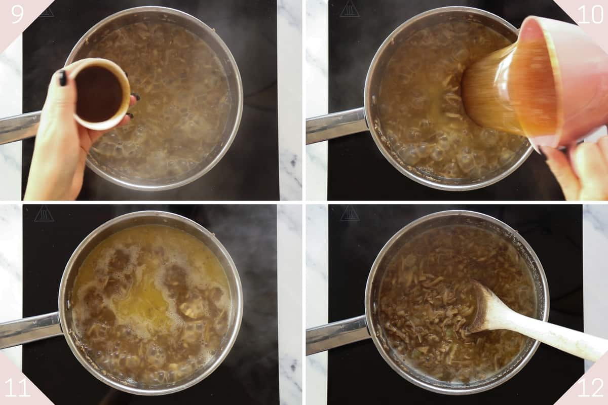 collage showing how to add stock to soup
