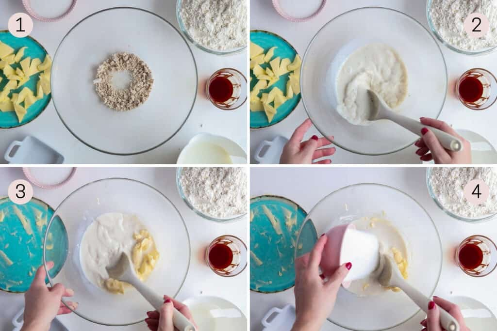 collage showing how to mix yeast, milk and sugar