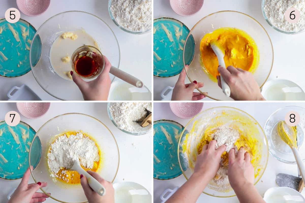 collage showing how to add saffron an flour to lussekatter dough