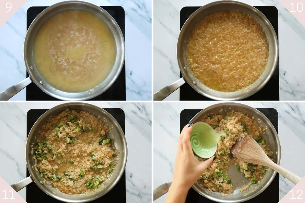 collage showing how to cook risotto before seasoning