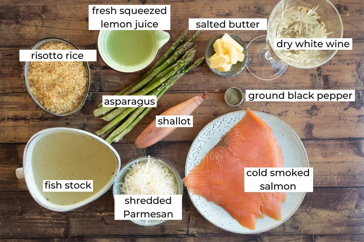 ingredients needed to make smoked salmon risotto