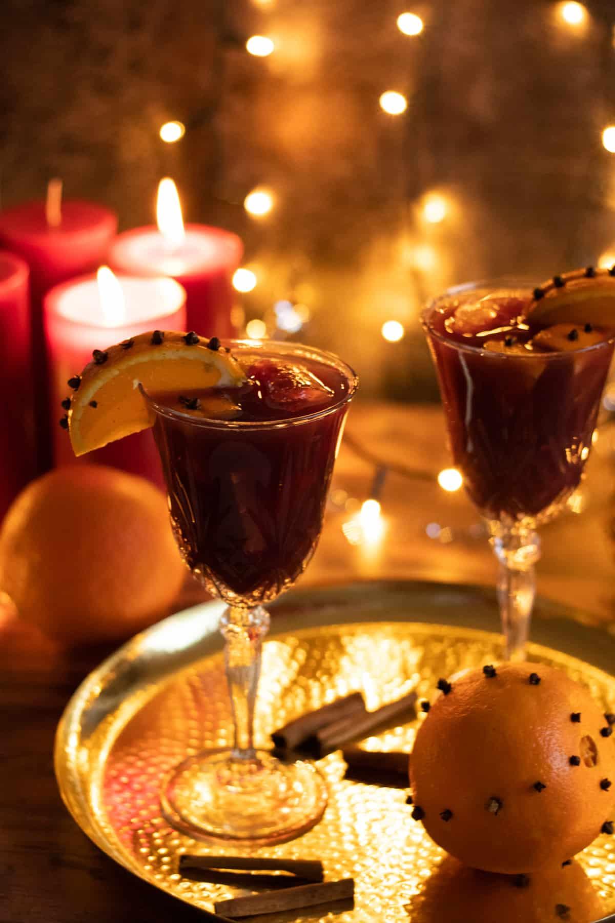 Two glasses of christmas sangria