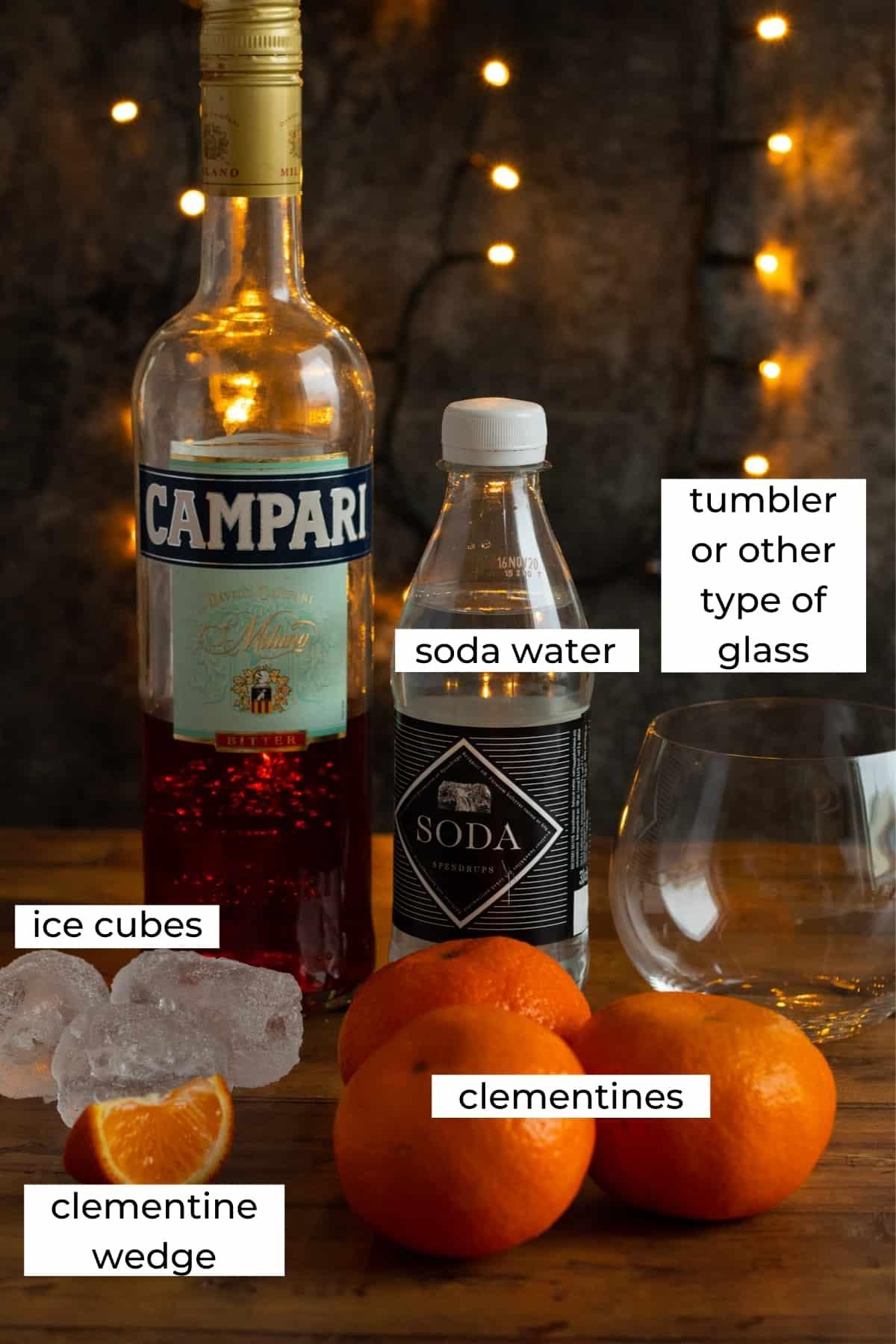 ingredients needed to make a clementin campari spritz