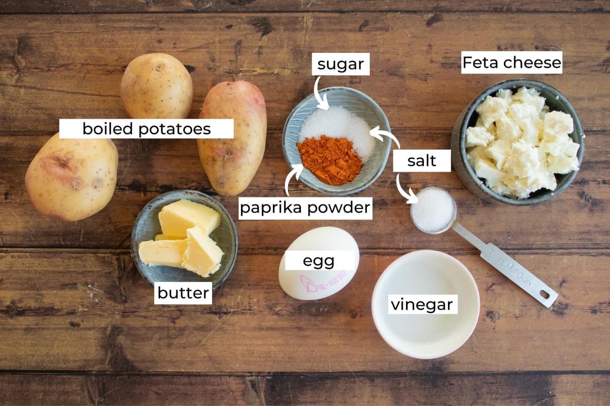 ingredients for fried breakfast potatoes bowl