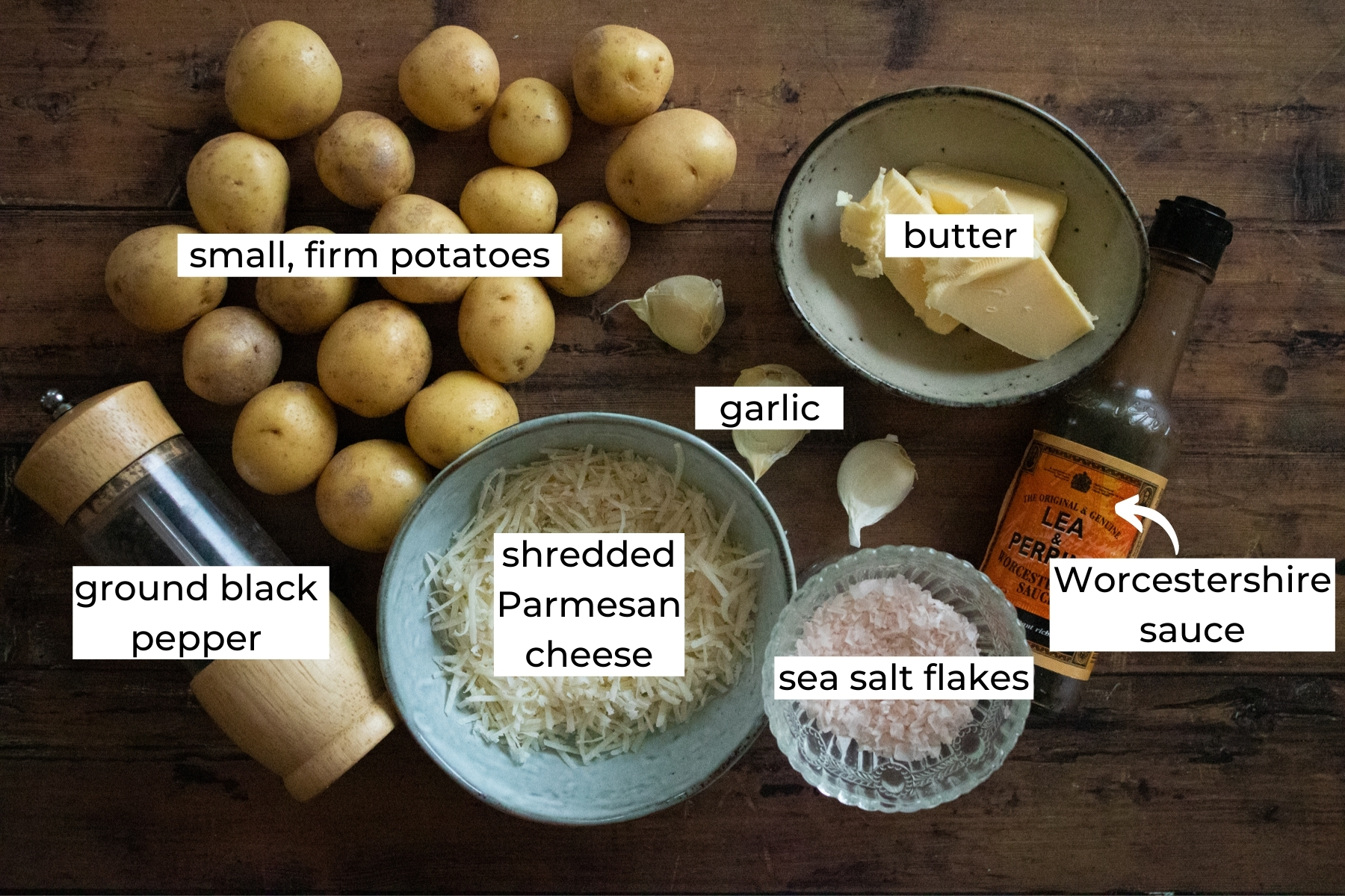 ingredients for garlicky smashed potatoes