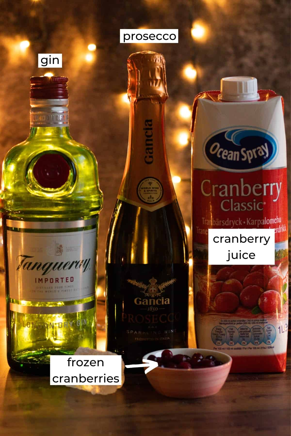 ingredients needed to make a gin prosecco cocktail
