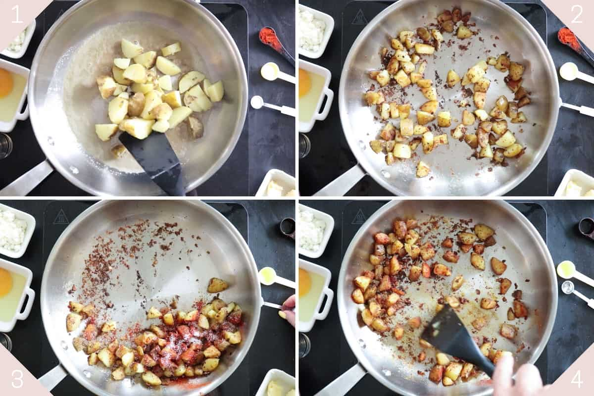 collge showing how to fry potatoes