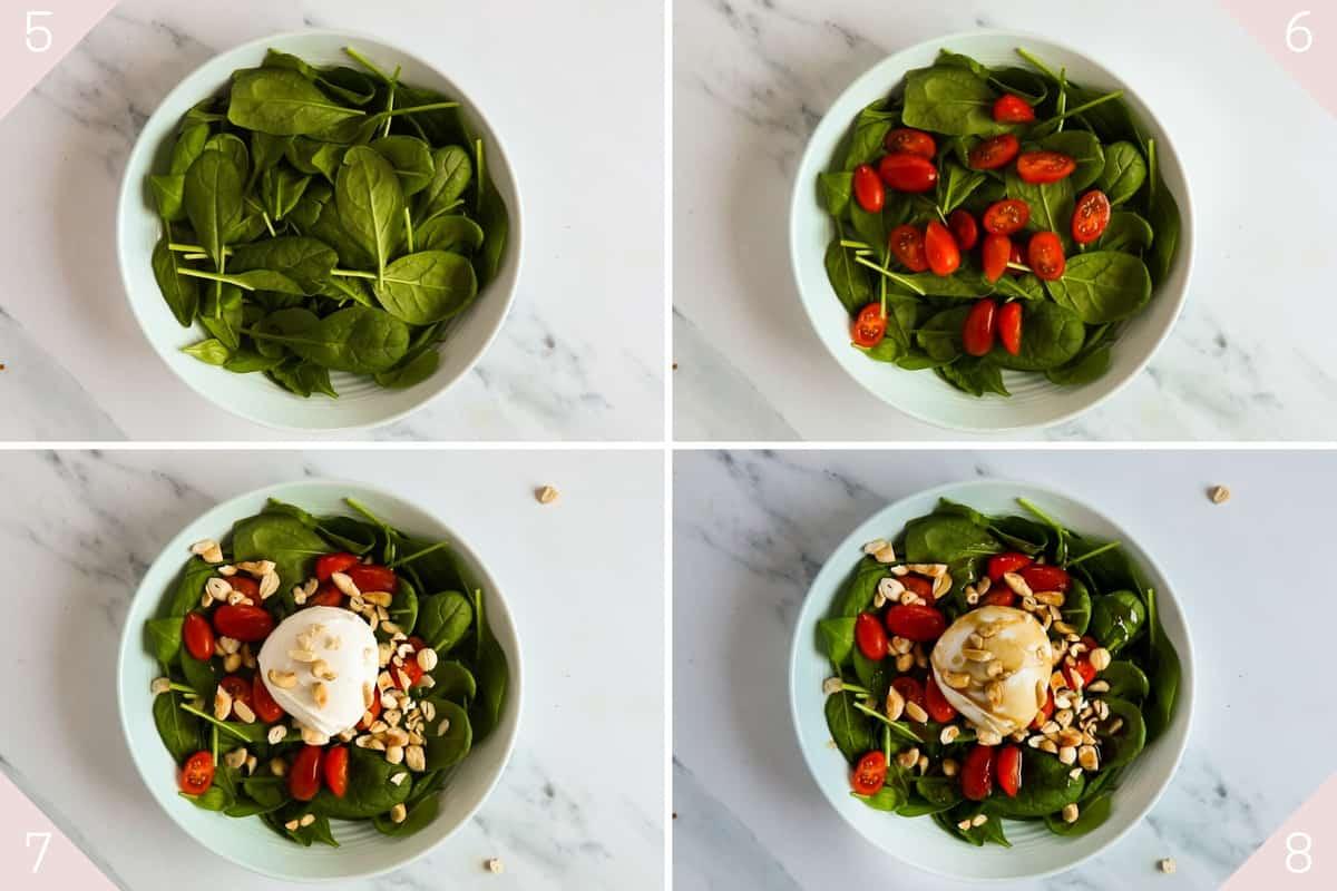collage showing how to assemble a burrata caprese salad