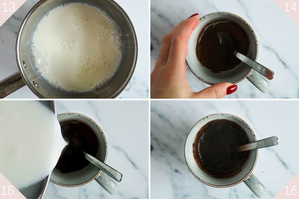 collage showing how to make hot chocolate
