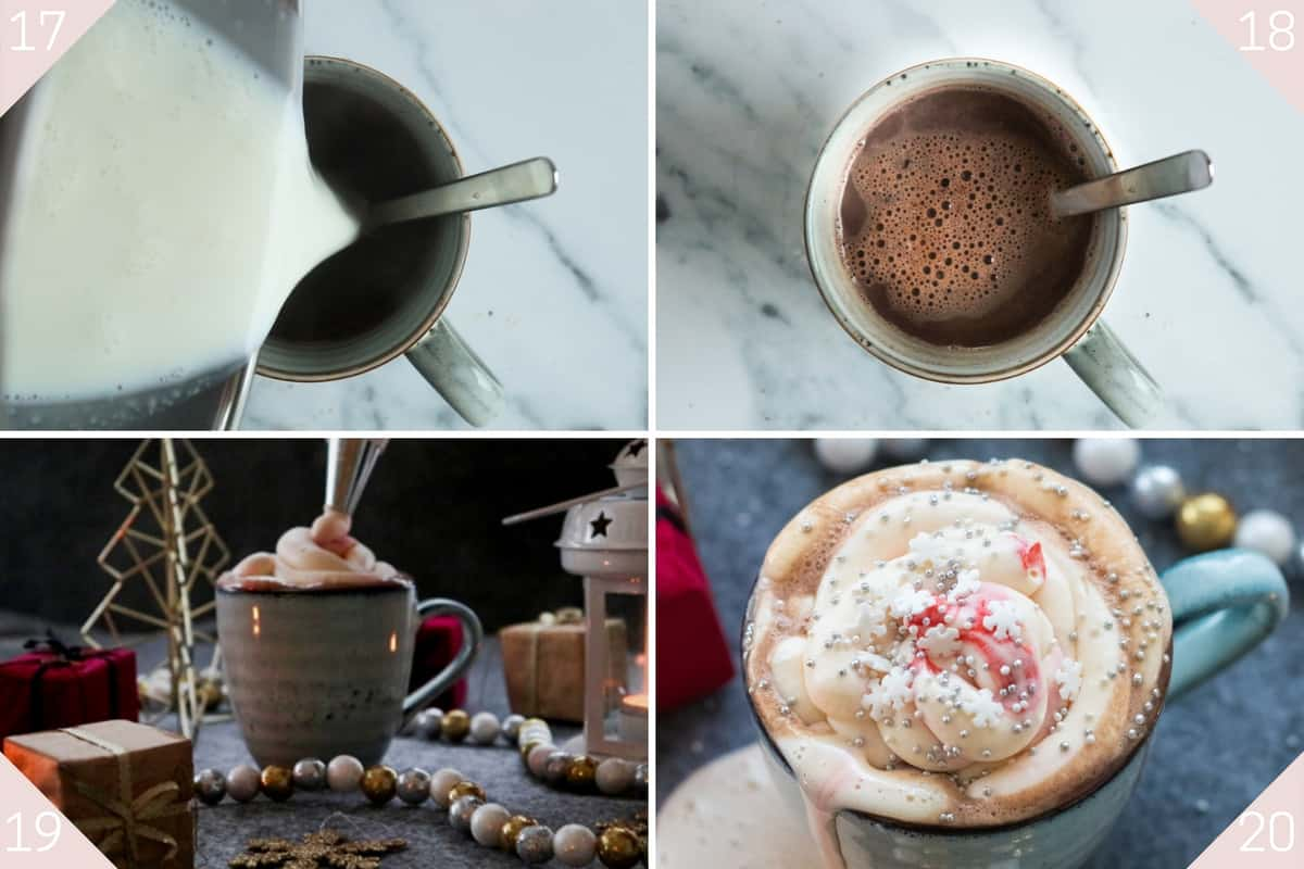 collage showing how to make christmas hot chocolate