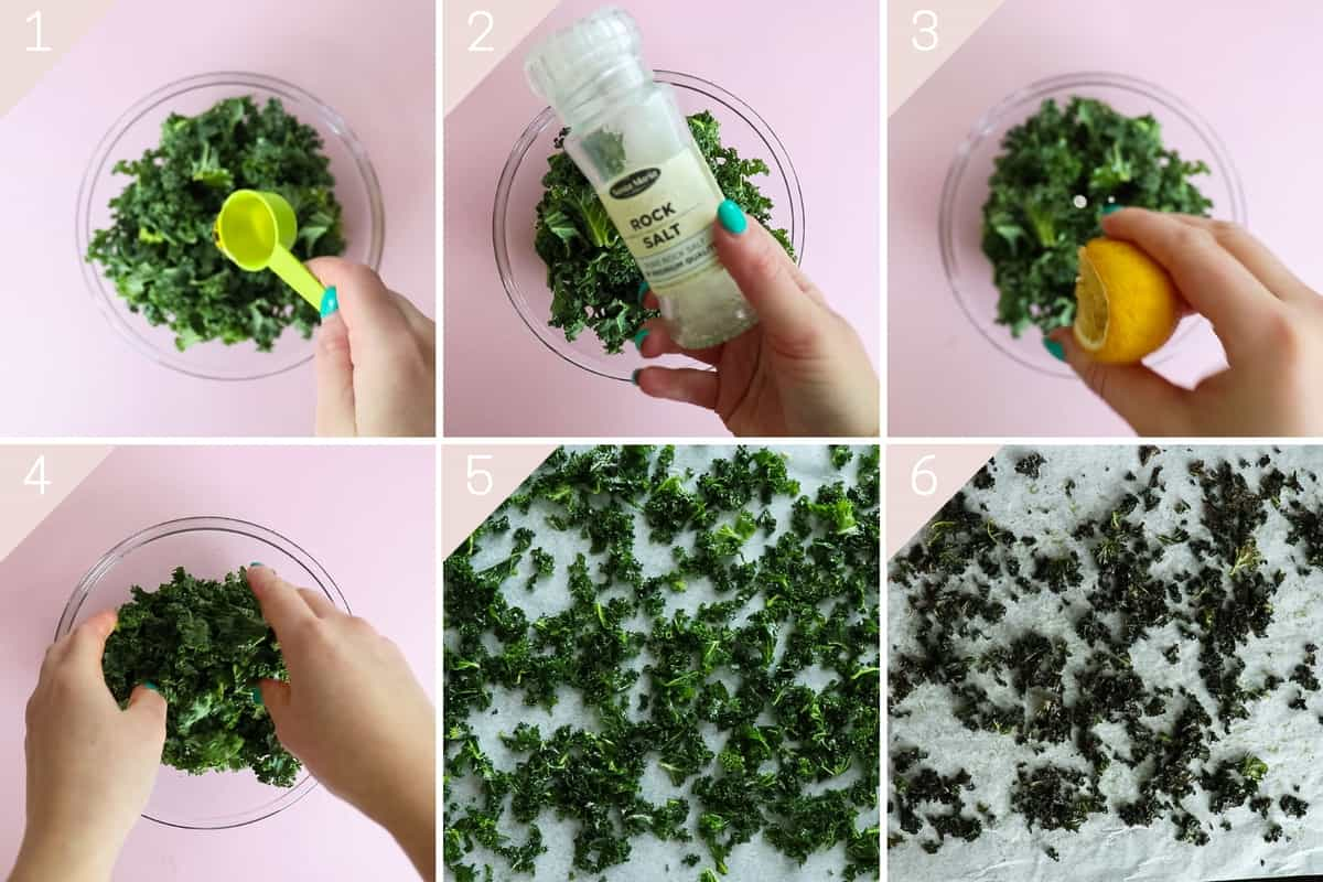 collage showing how to make kale chips