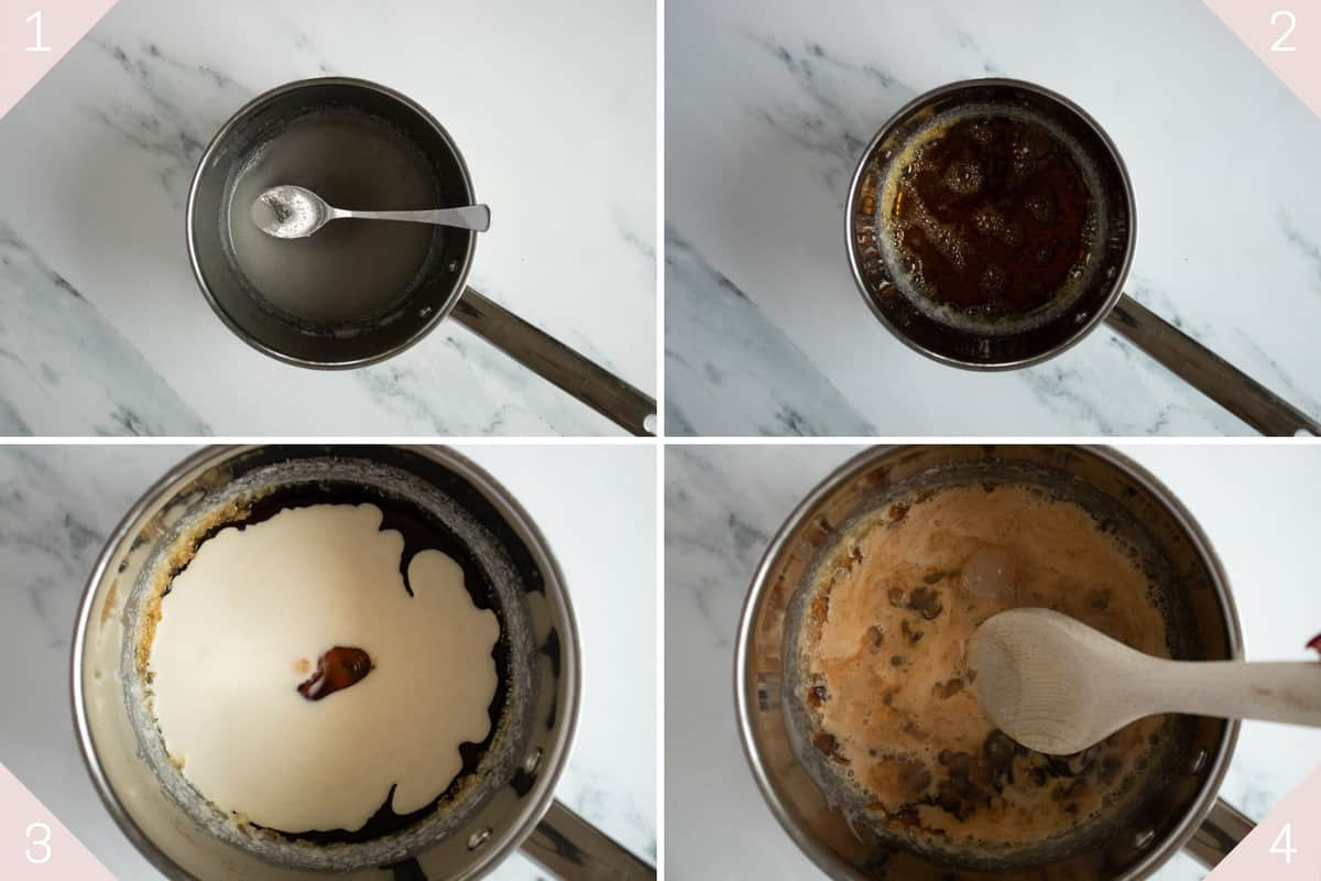 collage showing how to make salted caramel sauce