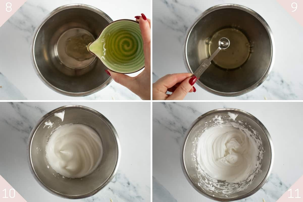collage showing how to make french meringue