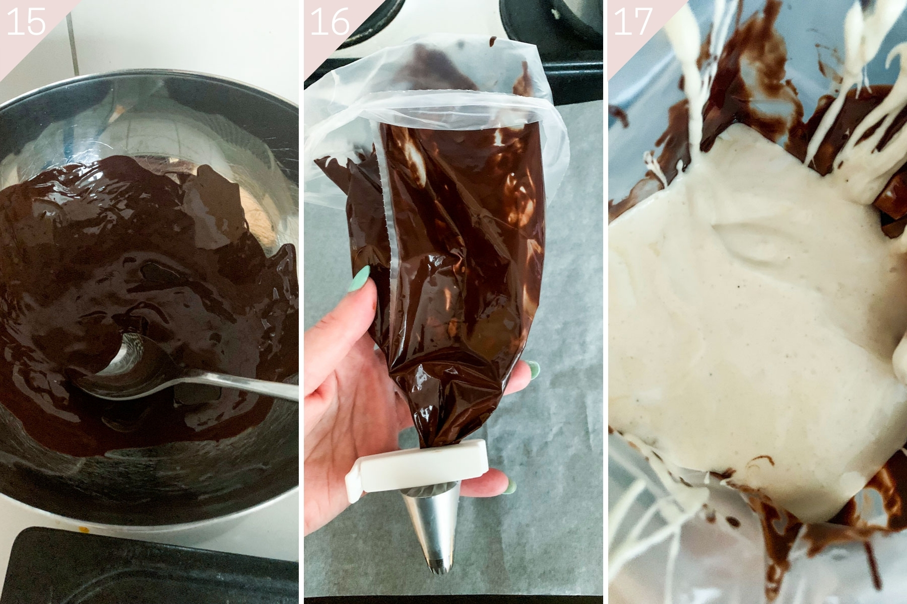 collage showing how to prep piing bags with chocolate and meringue
