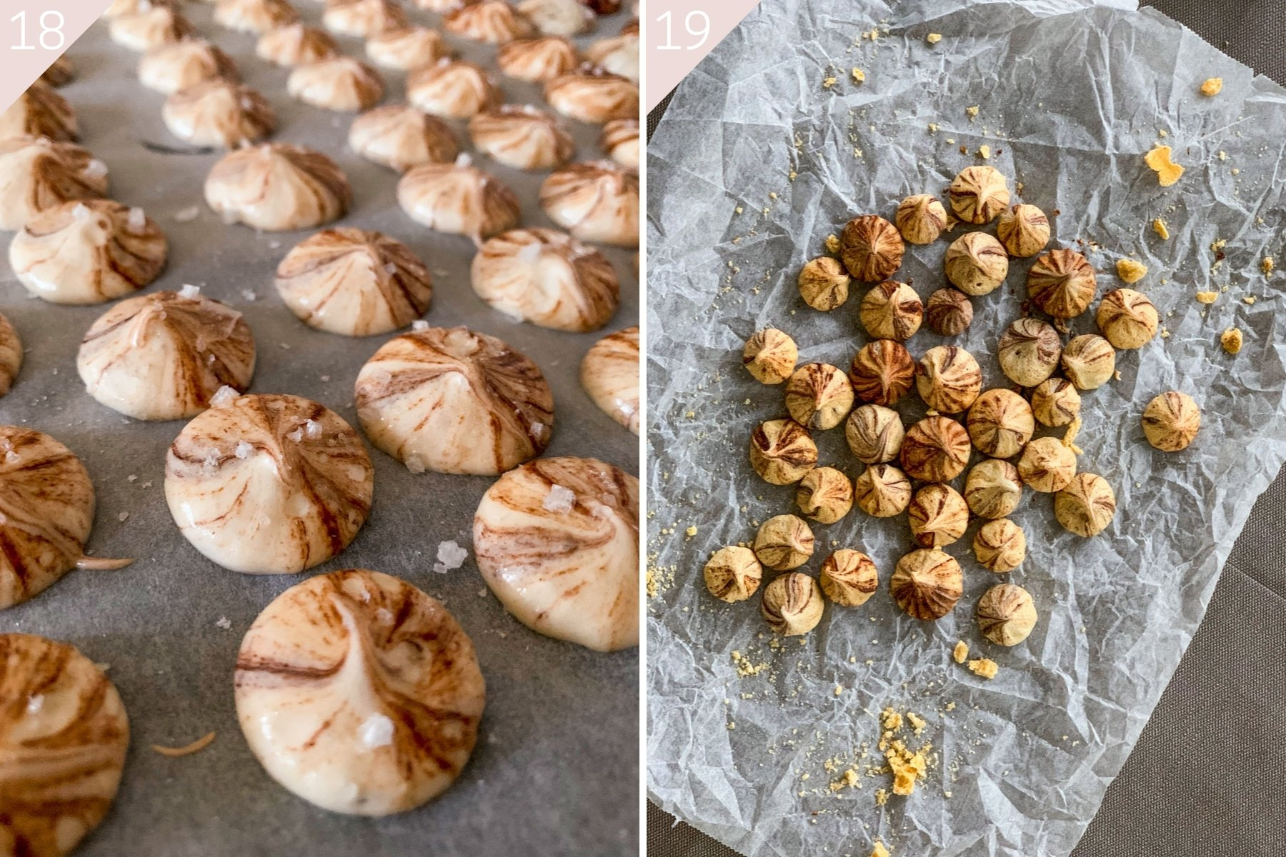 collage showing meringues before and after baking