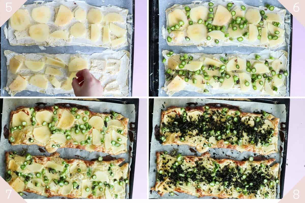 collage showing how to make puff pastry pizza