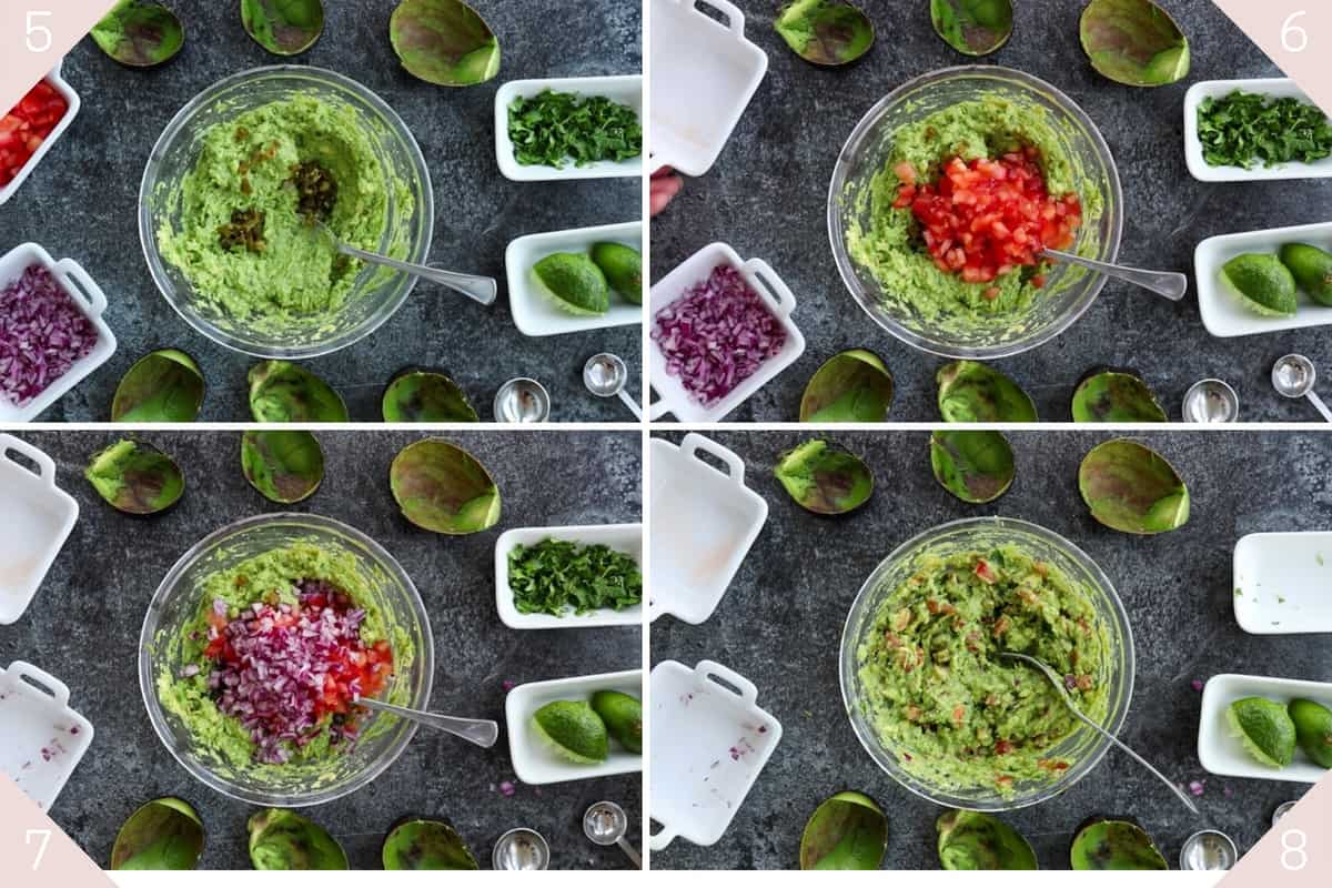 collage showing how to make guacamole