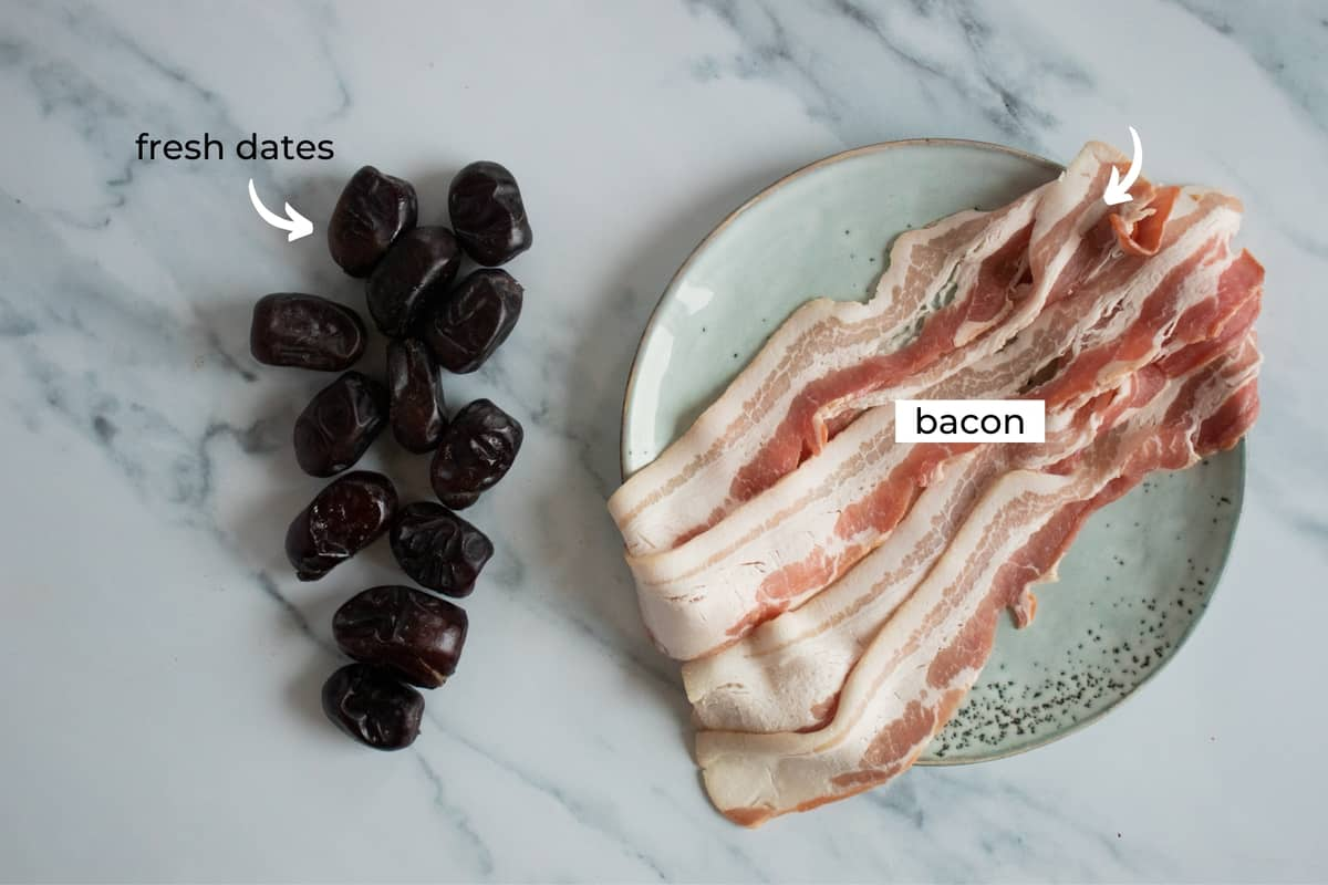 ingredients for bacon wrapped dates