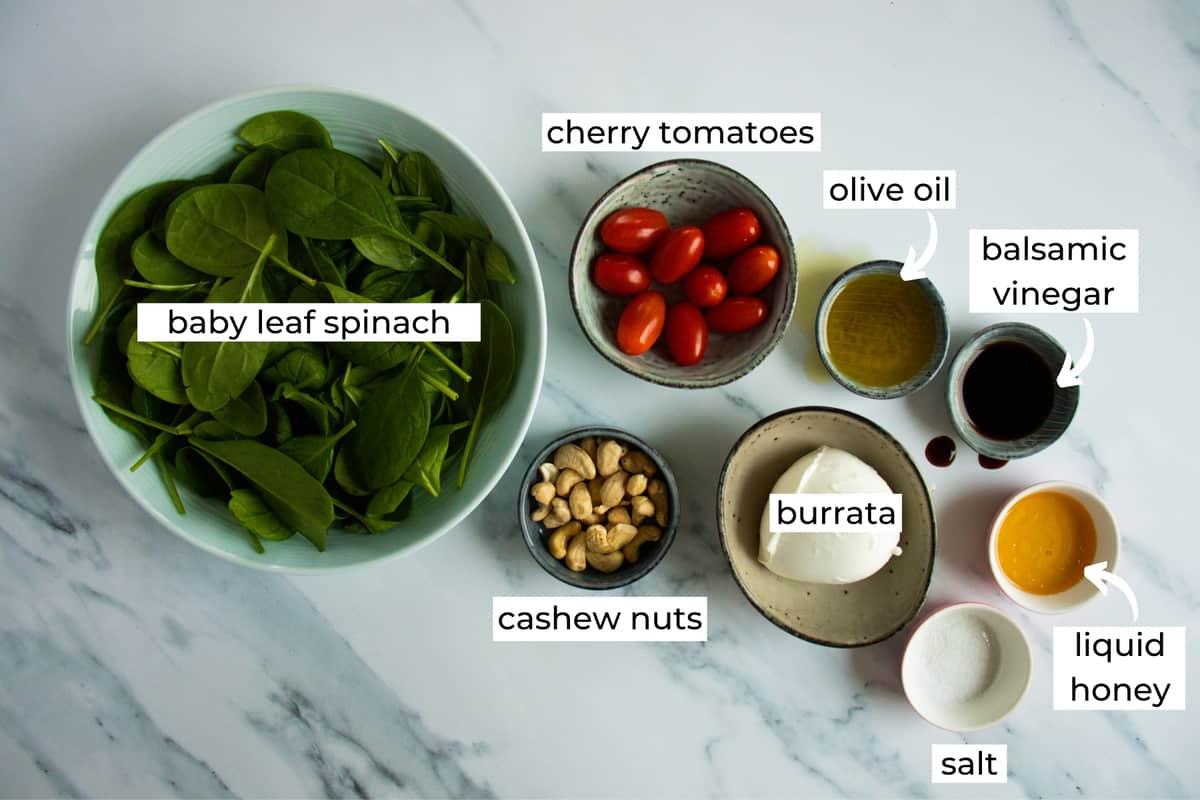 ingredients needed to make burrata caprese