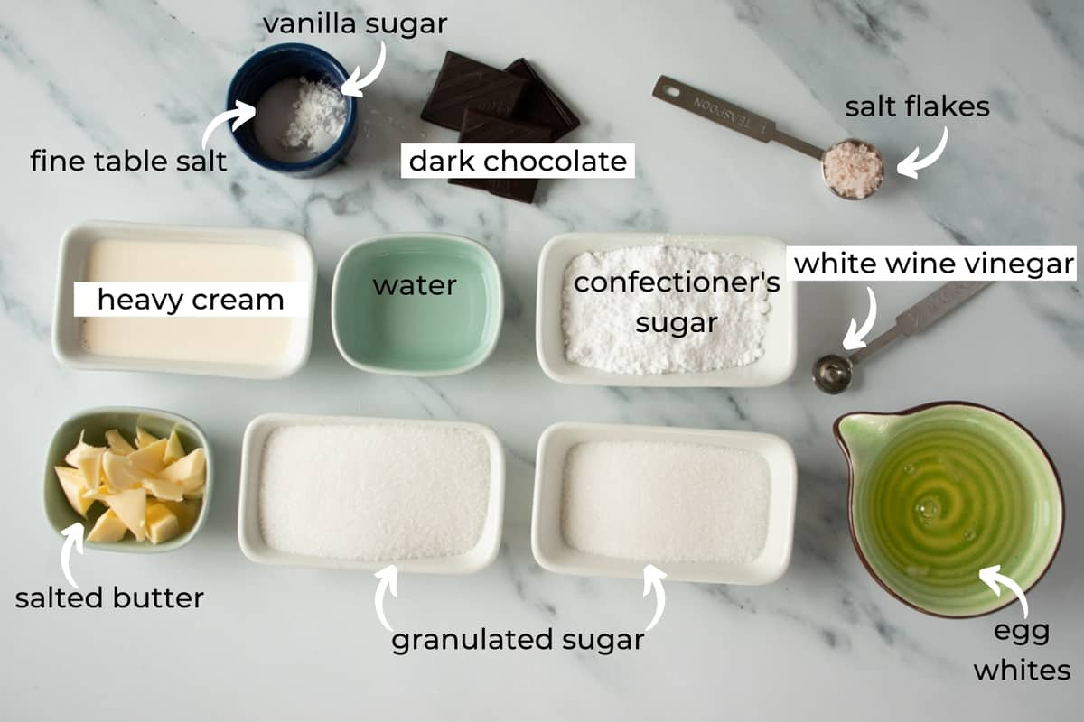 ingredients needed to make mini meringues with dark chocolate and salted caramel