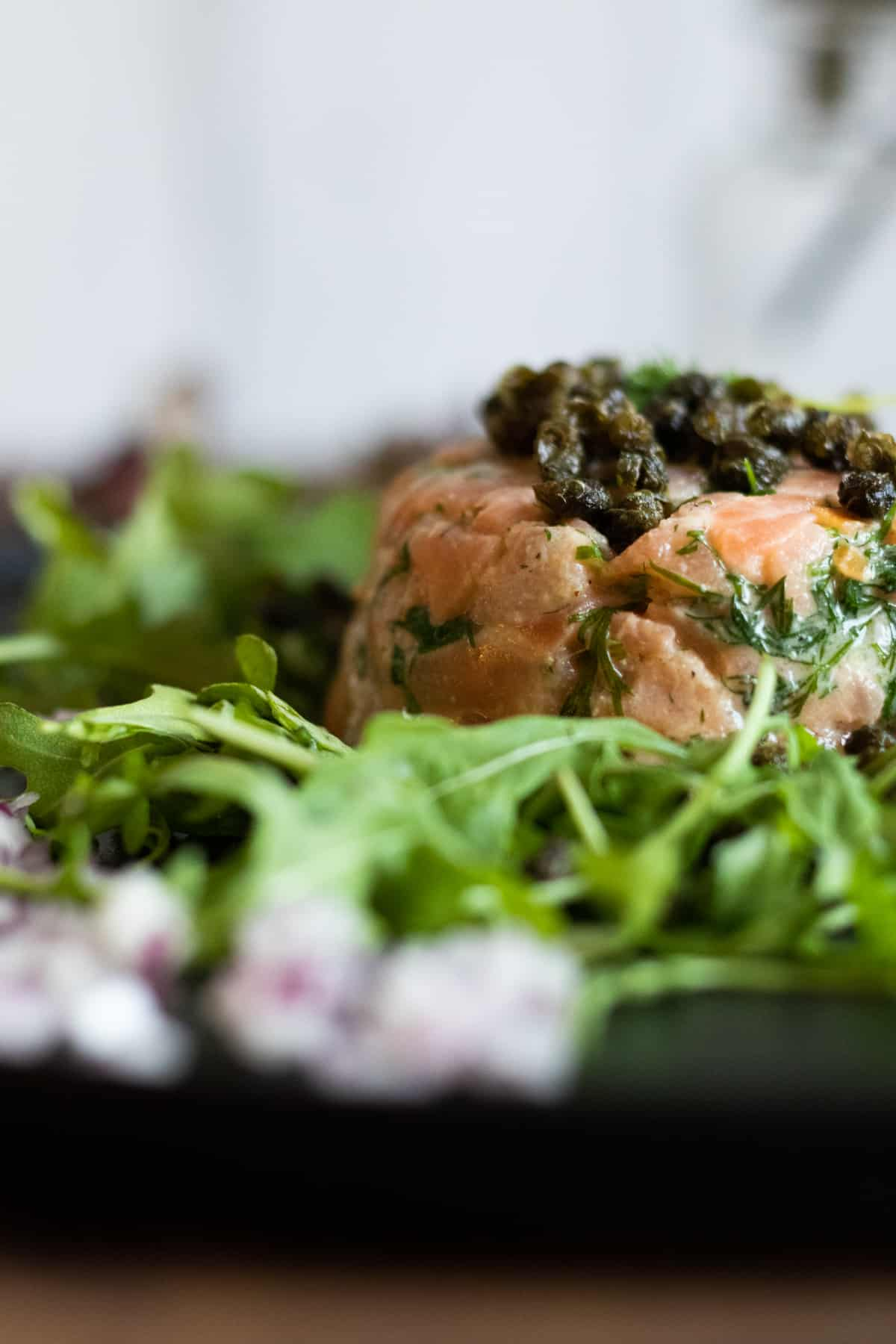 side view of a smoked salmon tartare