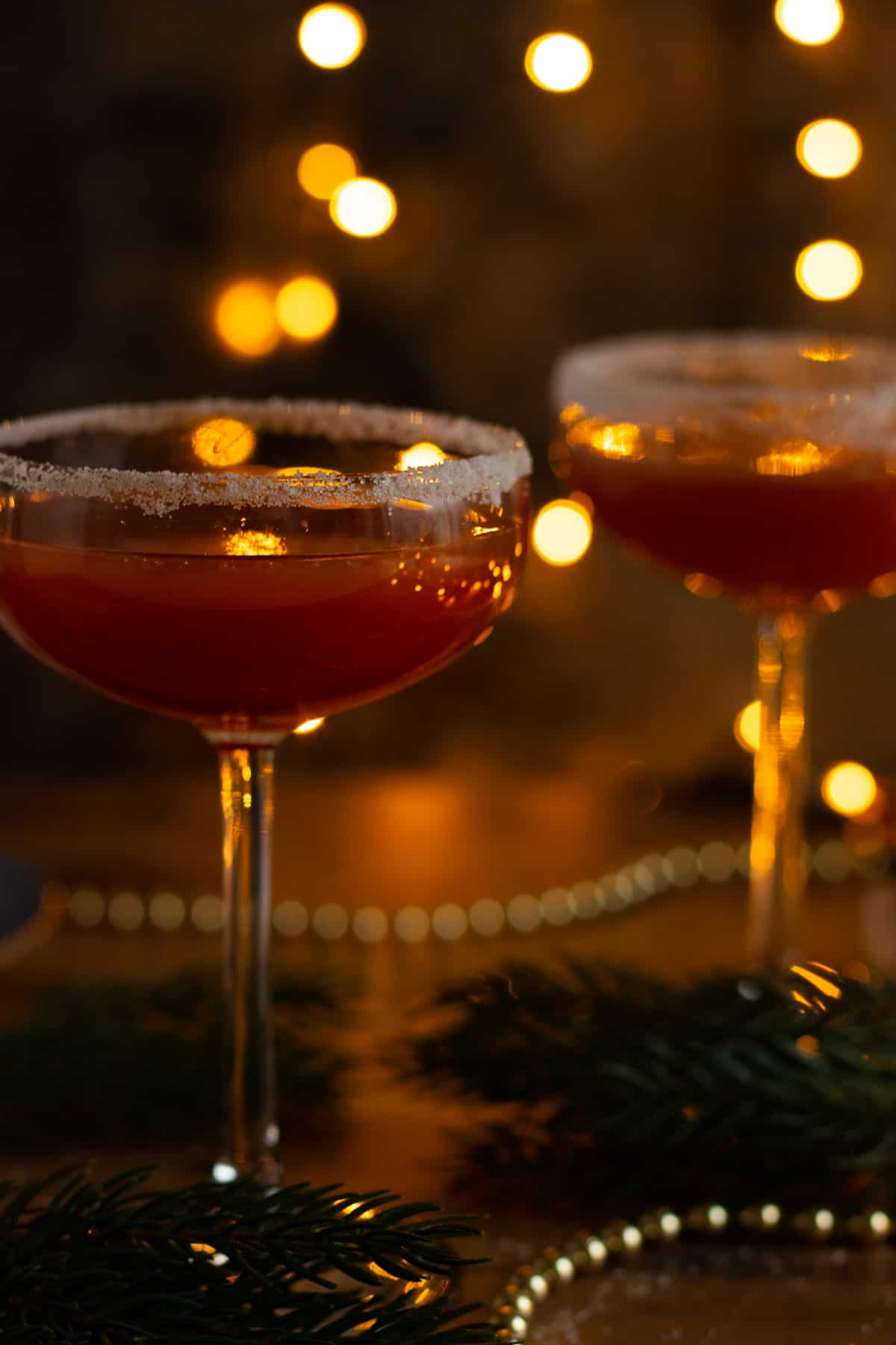 side view of two glasses of sober santa christmas punch