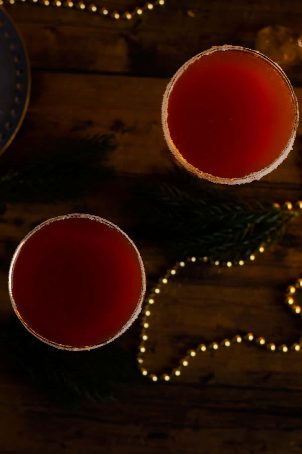 top down view of two glasses of sober santa christmas punch