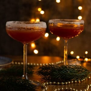 two glasses of sober santa christmas punch