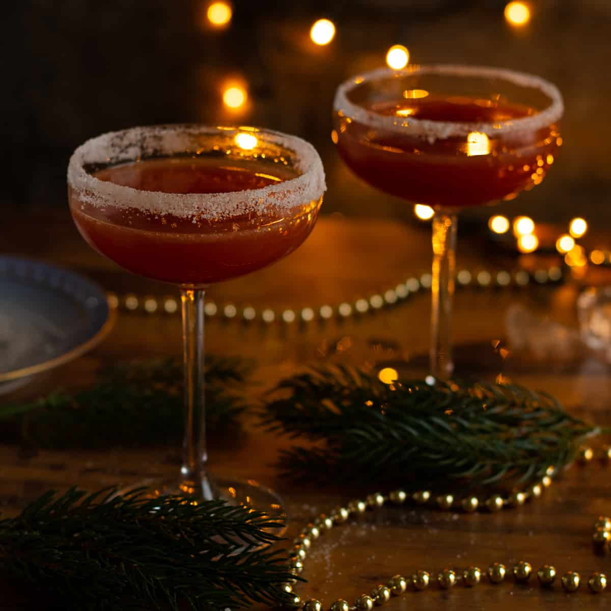 two glasses of sober santa christmas punch