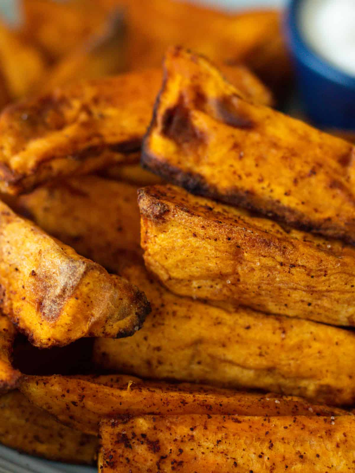 close up of air fryer sweet potatoes