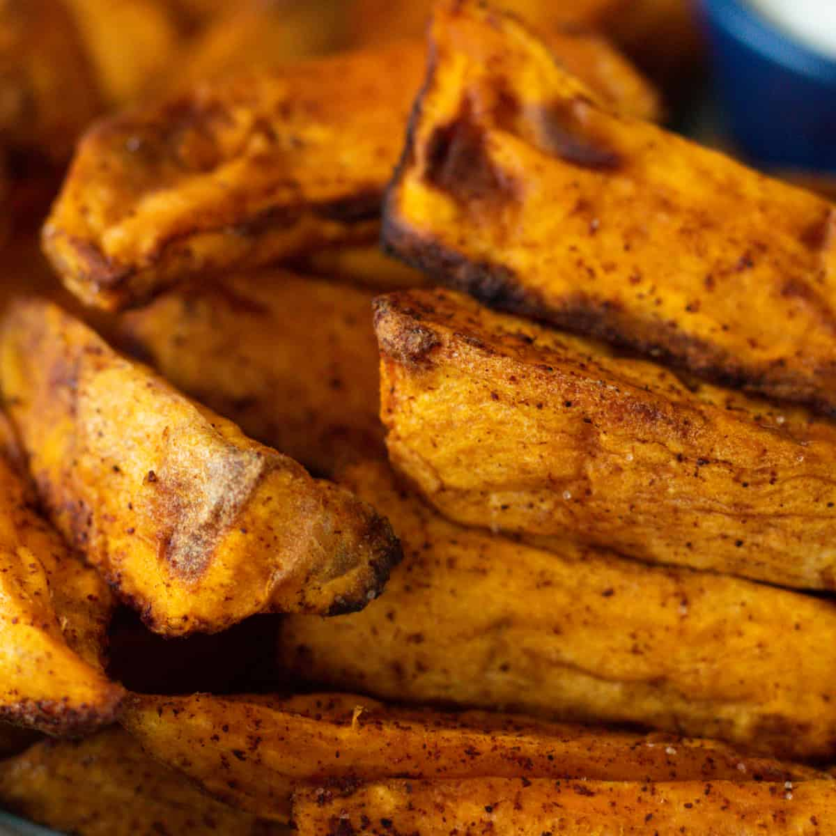 close up of air fryer sweet potatoes