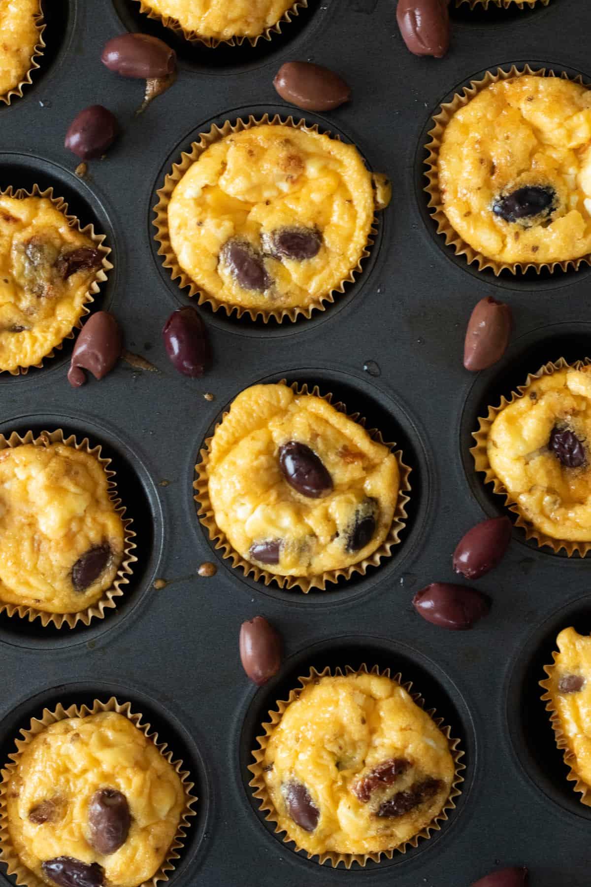 top down view of greek breakfast egg muffins