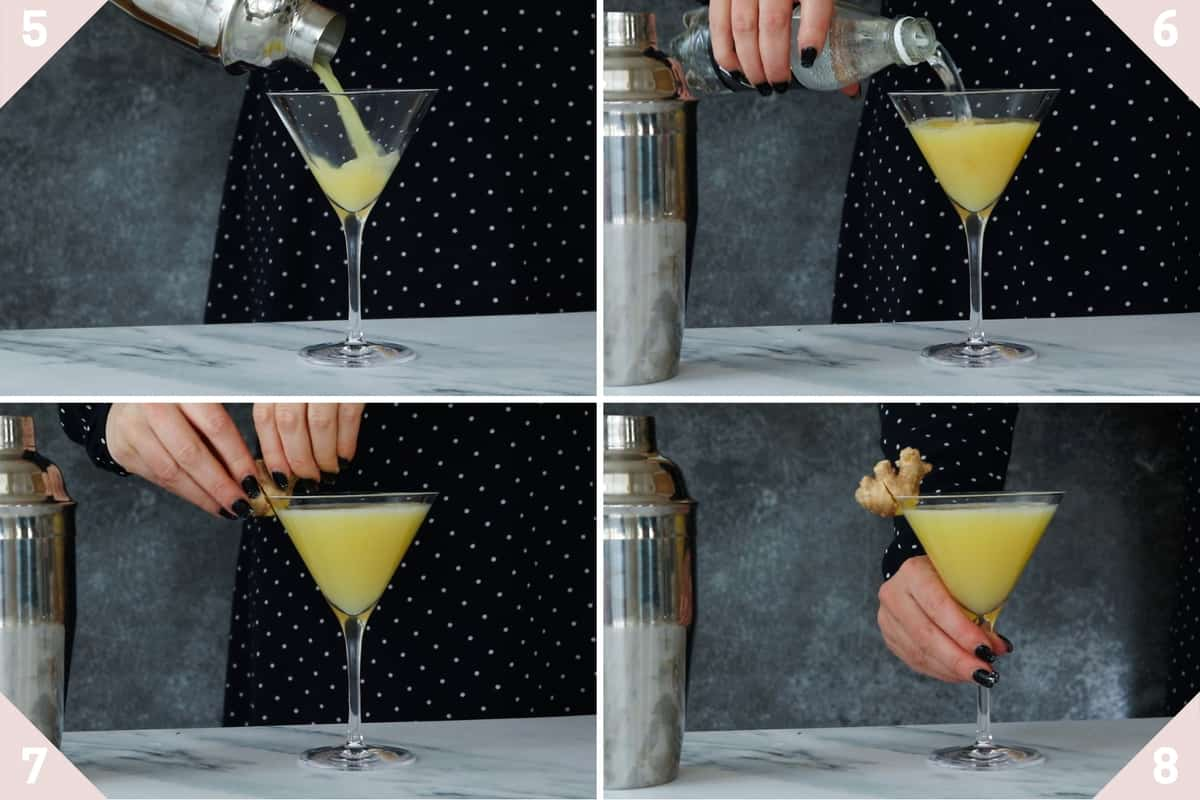 how to pour and serve a lemon ginger mocktail