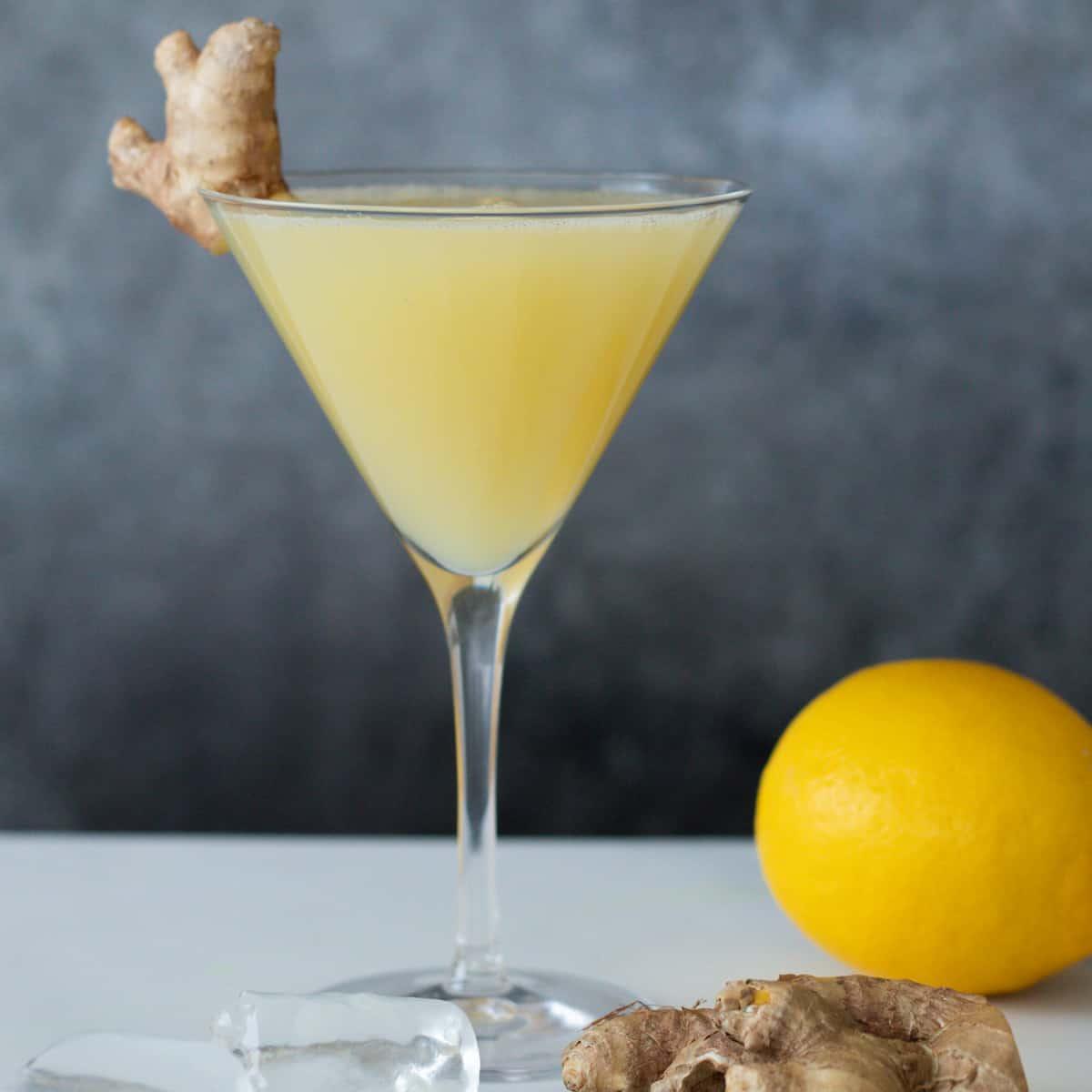lemon ginger mocktail in a martini glass