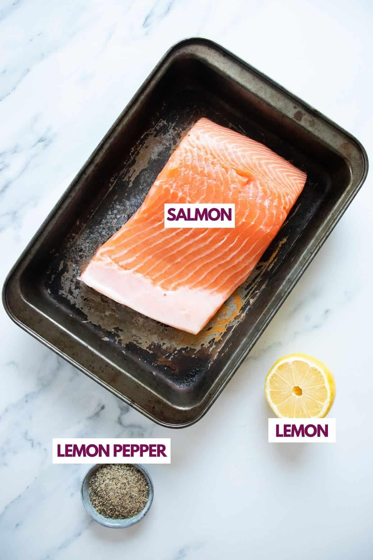 ingredients for lemon pepper salmon