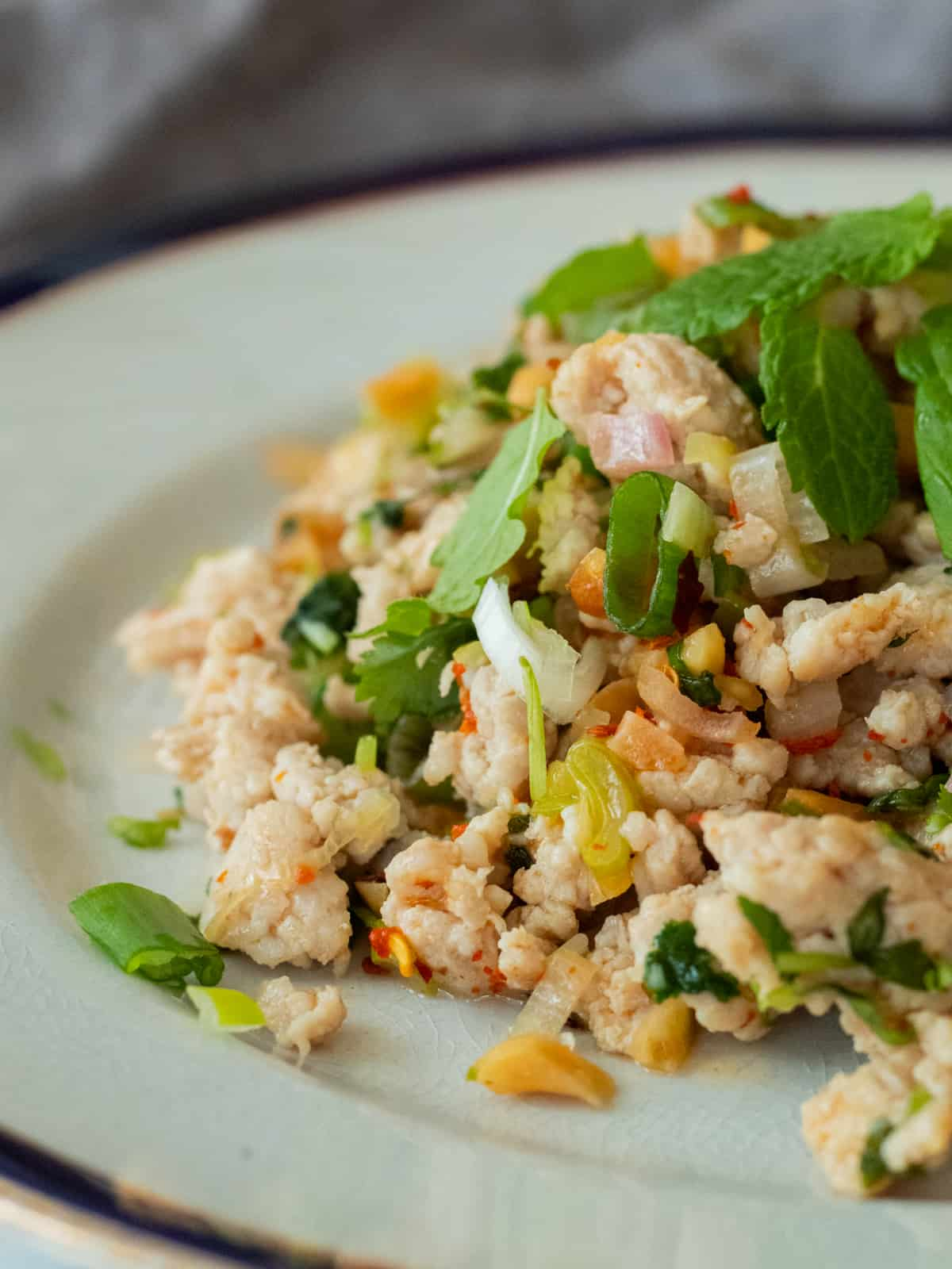 larb gai on a plate