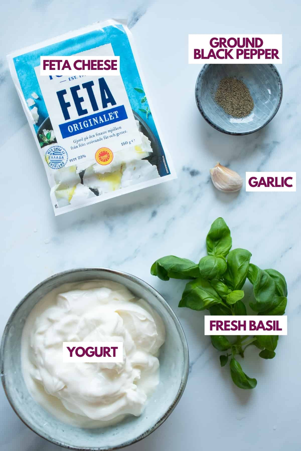 ingredients for whipped feta